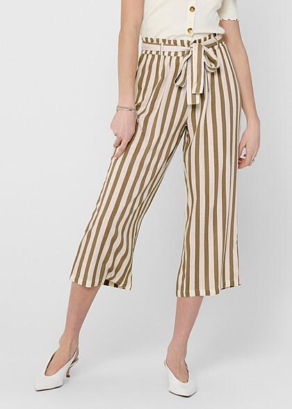 ONLY Damen NOOS Paperbag Culotte Stoffhose Streifen inkl. Bindegürtel weiss beige