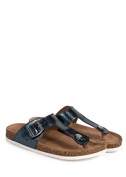 ONLY Damen Schuh Zehensteg Sandale Schlangenhaut Optik dunkel blau