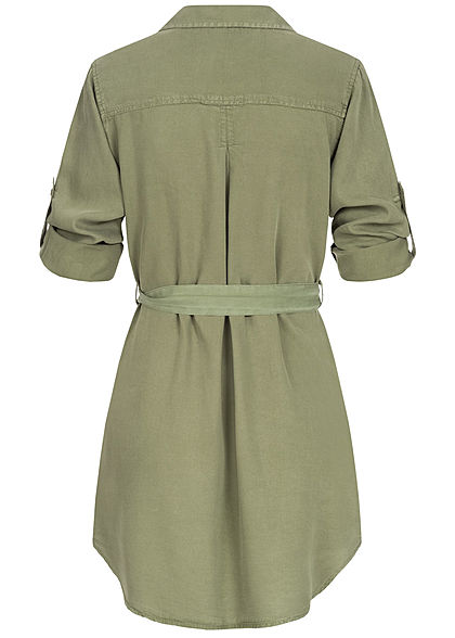 Hailys Damen 3/4 Arm Turn-Up Long Bluse 2-Pockets inkl. Bindegürtel khaki grün