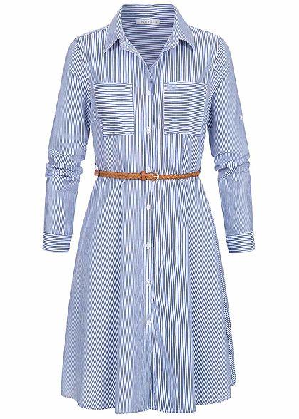 Hailys Damen Turn-Up Blusen Kleid 2-Pockets Streifen inkl. Bindegürtel blau weiss