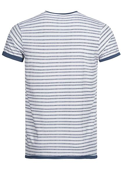 Urban Surface Herren T-Shirt Streifen Muster Brusttasche weiss navy blau