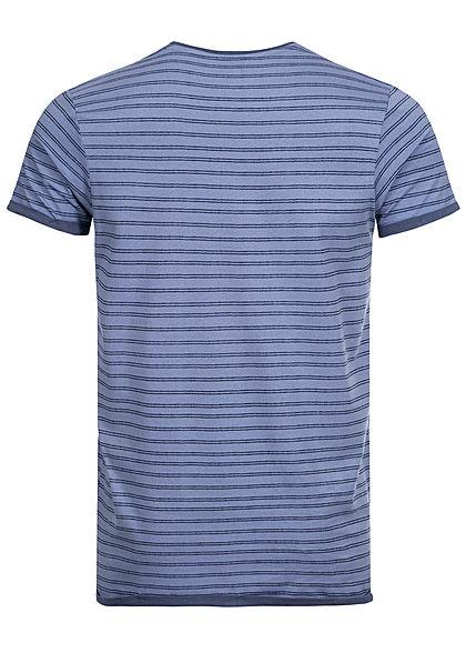 Urban Surface Herren T-Shirt Streifen Muster Brusttasche misty blau