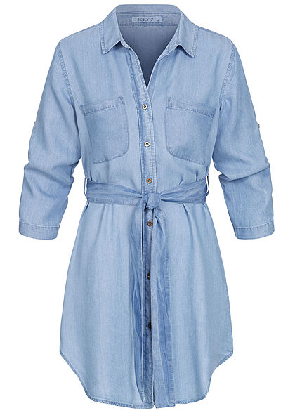 Hailys Damen 3/4 Arm Turn-Up Long Bluse 2-Pockets inkl. Bindegürtel hell blau denim