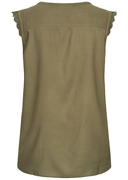 ONLY Damen NOOS V-Neck Bluse Häkelbesatz grape leaf oliv