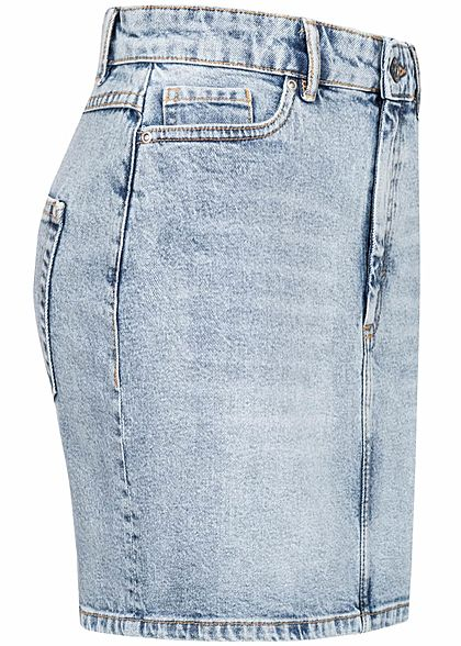 ONLY Damen Mini Jeans Rock 5-Pockets Regular Waist washed hell blau denim