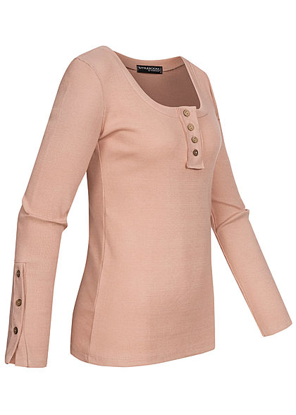 Styleboom Fashion Damen Ribbed Longsleeve Knopfleiste old rosa