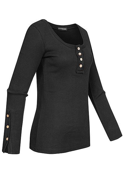 Styleboom Fashion Damen Ribbed Longsleeve Knopfleiste schwarz