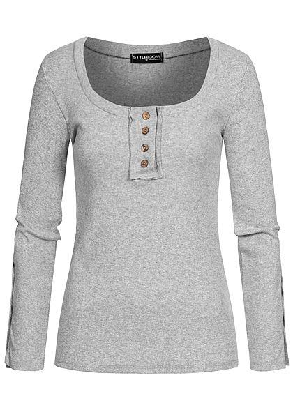 Styleboom Fashion Damen Ribbed Longsleeve Knopfleiste hell grau