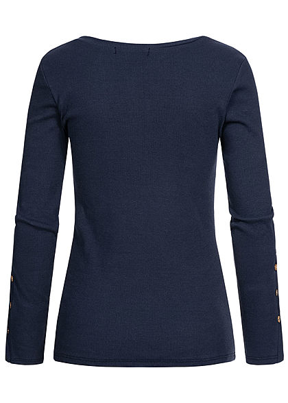 Styleboom Fashion Damen Ribbed Longsleeve Knopfleiste navy blau