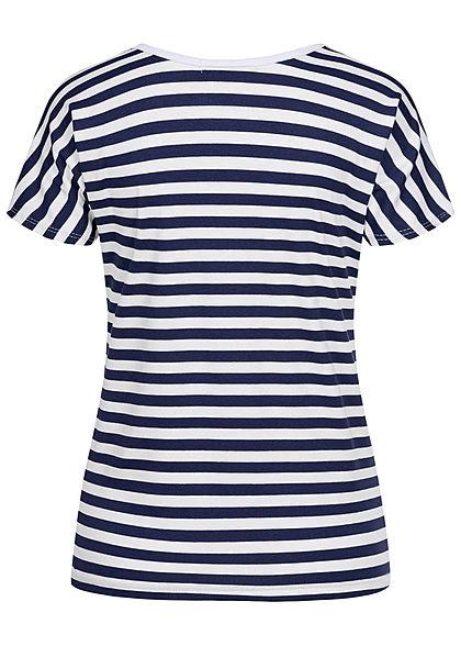 Styleboom Fashion Damen T-Shirt Anker Print Streifen Rückseite weiss navy blau