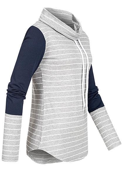 Styleboom Fashion Damen Schalkragen Longsleeve Streifen Muster grau blau