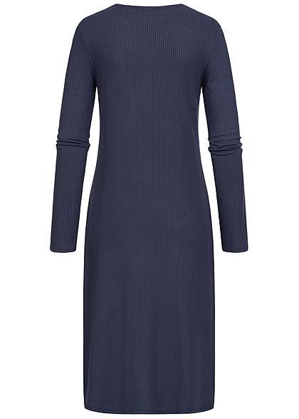 Styleboom Fashion Damen Long Cardigan seitlicher Schlitz navy blau