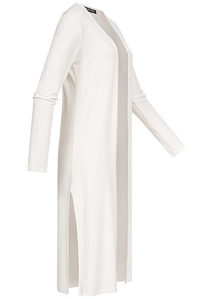Styleboom Fashion Damen Long Cardigan seitlicher Schlitz weiss
