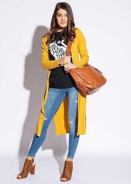 Styleboom Fashion Damen Long Cardigan seitlicher Schlitz senf gelb