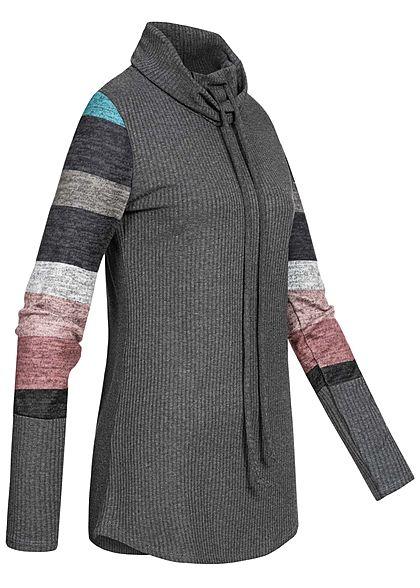 Styleboom Fashion Damen Ribbed Rollkragen Pullover Colorblock Ärmel dunkel grau