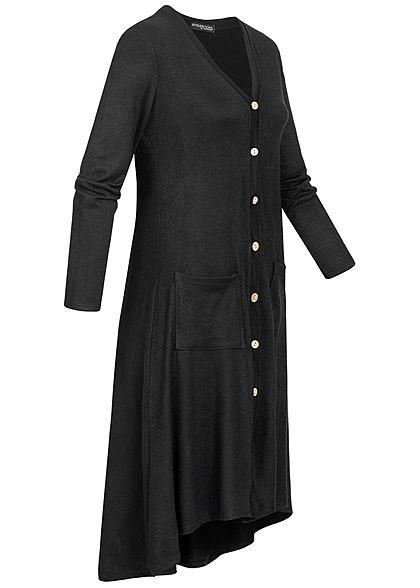 Styleboom Fashion Damen Longform Cardigan Knopfleiste 2-Pockets schwarz