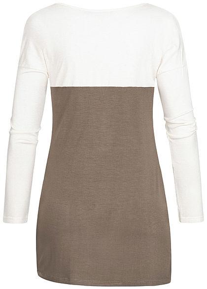 Styleboom Fashion Damen 2-Tone Longsleeve Knoten vorne Leo Brusttasche weiss braun