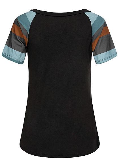 Styleboom Fashion Damen Multicolor T-Shirt Brusttasche Streifen schwarz multicolor