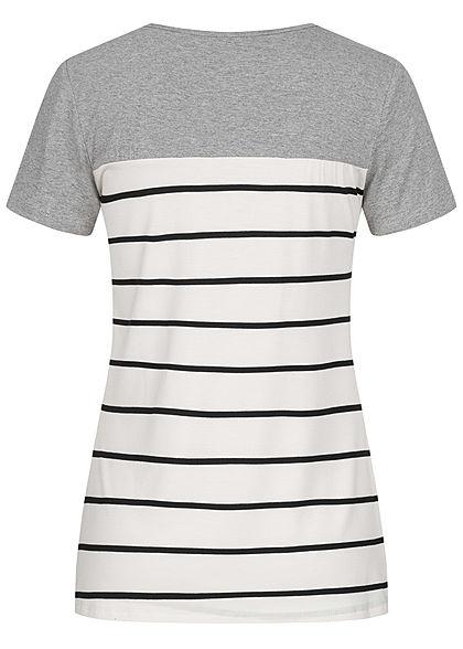 Styleboom Fashion Damen T-Shirt Streifen Muster Häkeltasche grau weiss schwarz