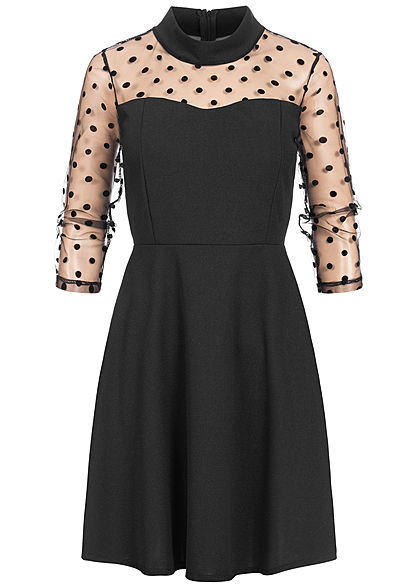 Styleboom Fashion Damen 3/4 Arm High-Neck Mini Kleid Mesh Punkte schwarz