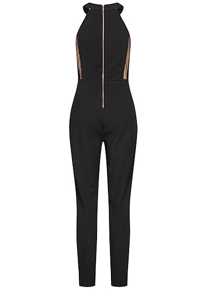 Styleboom Fashion Damen Choker Jumpsuit Mesh-Einsatz Zipper hinten schwarz