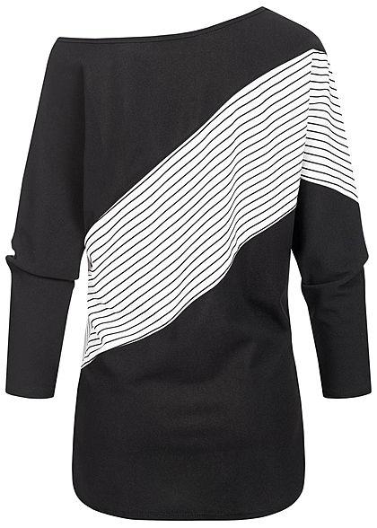 Styleboom Fashion Damen One-Shoulder Fledermausarm Shirt Streifen Muster schwarz