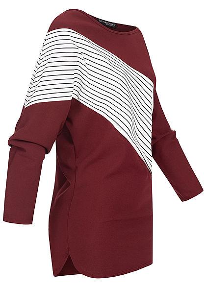 Styleboom Fashion Damen One-Shoulder Fledermausarm Shirt Streifen Muster bordeaux