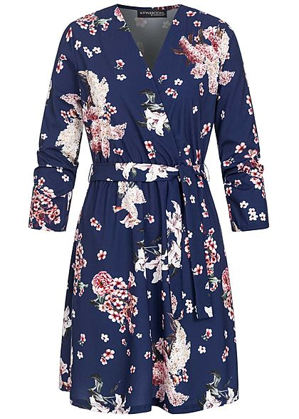Styleboom Fashion Damen V-Neck Mini Kleid Blumen Print inkl. Bindegürtel navy blau