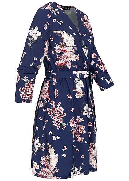Styleboom Fashion Damen V-Neck Mini Kleid Blumen Print inkl. Bindegürtel navy blau