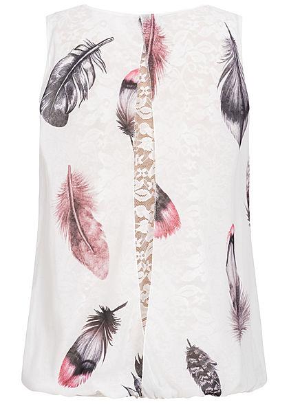 Styleboom Fashion Damen Chiffon Top mit Spitze Federn Print weiss