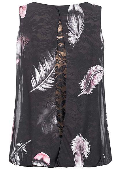 Styleboom Fashion Damen Chiffon Top mit Spitze Federn Print schwarz