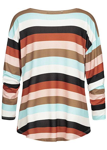 Styleboom Fashion Damen Oversize Pullover Multicolor Streifen multicolor