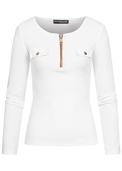 Styleboom Fashion Damen Ribbed Longsleeve Zipper Deko Taschen weiss gold