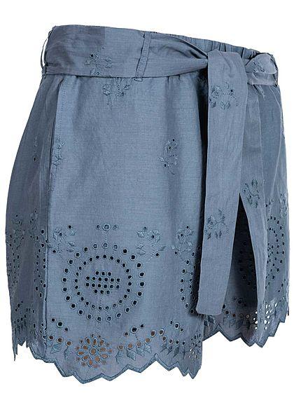 ONLY Damen Shorts Stoffhose inkl. Bindegürtel china blau