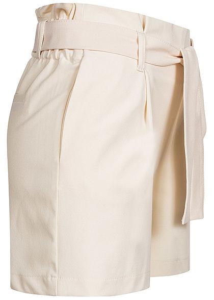 ONLY Damen Paperbag Shorts 2-Pockets inkl. Bindegürtel whitecap gray beige