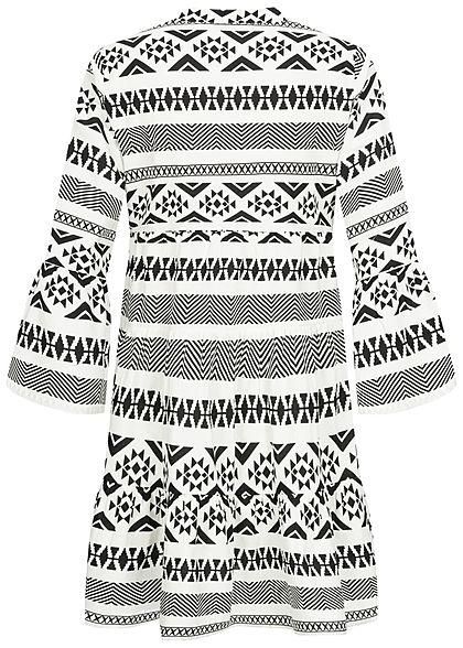 ONLY Damen 3/4 Arm V-Neck Puffer Kleid Azteken Print Volantärmel weiss schwarz