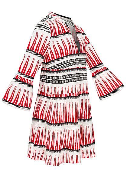 ONLY Damen 3/4 Arm V-Neck Puffer Kleid Azteken Print Volantärmel weiss rot schwarz