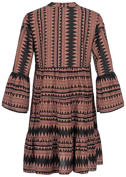 ONLY Damen 3/4 Arm V-Neck Puffer Kleid Azteken Print Volantärmel braun schwarz