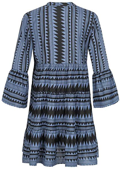 ONLY Damen 3/4 Arm V-Neck Puffer Kleid Azteken Print Volantärmel blau schwarz
