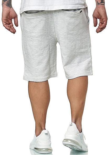 Eight2Nine Herren Vintage Sweat Shorts ribbed hell grau melange