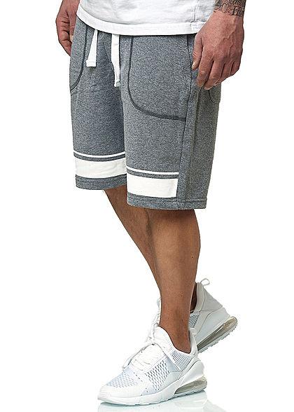 Stitch & Soul Herren Bermuda 2-Tone Sweat Shorts 4-Pockets grau melange