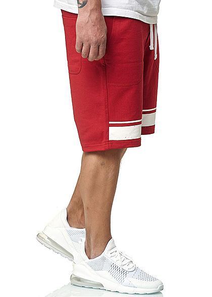 Stitch & Soul Herren Bermuda 2-Tone Sweat Shorts 4-Pockets rot