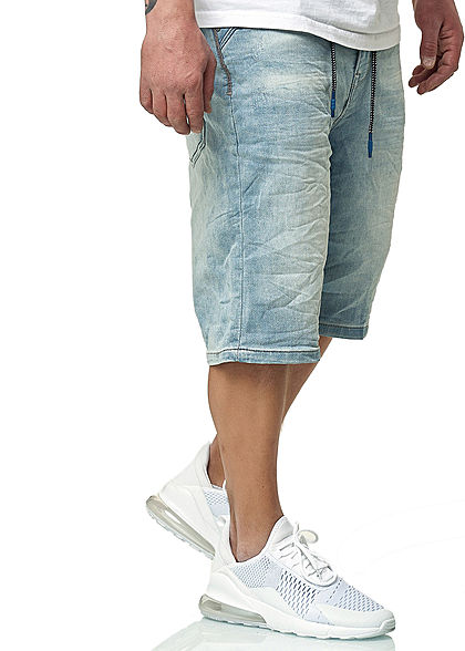 Sublevel Herren Bermuda Jeans Shorts 5-Pockets Kordel hell blau denim