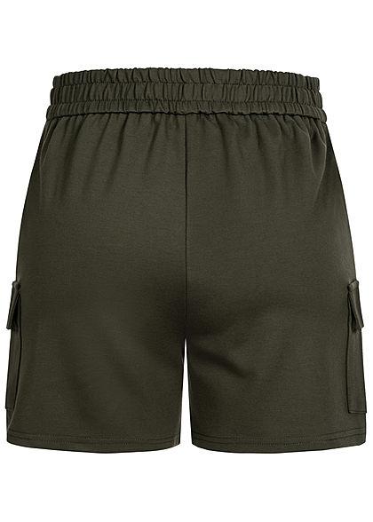 ONLY Damen Poptrash Cargo Shorts 4-Pockets forest night oliv grün