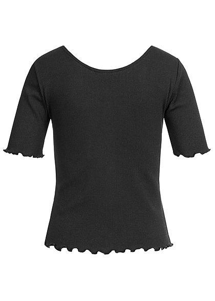 ONLY Damen NOOS Ribbed T-Shirt Deko Knopfleiste schwarz
