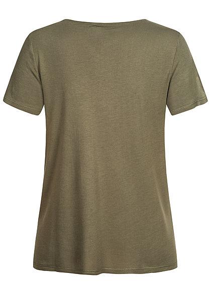 ONLY Damen T-Shirt Häkelbesatz am Ausschnitt kalamata oliv