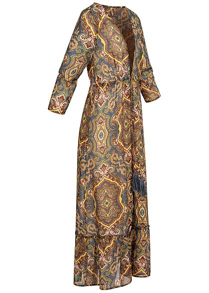 ONLY Damen 3/4 Arm Strand Cardigan Kleid Paisley Muster china blau multicolor