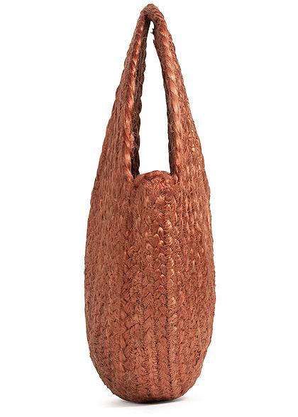 ONLY Damen Runde Jute Shopper Handtasche Durchmesser 35cm patita braun