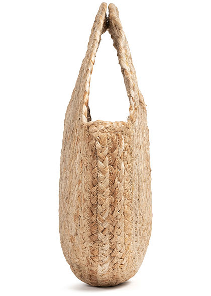 ONLY Damen Runde Jute Shopper Handtasche Durchmesser 35cm natural beige