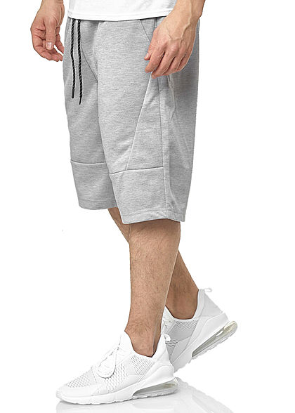 Southpole Herren Tech Fleece Shorts Tunnelzug Uni 3-Pockets heather hell grau